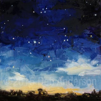 """Oil Painting: the Constellation Aquila Soaring in the Night Sky"" original fine art by Deb Anderson"
