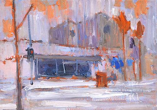 """Rain in Coronado"" original fine art by Kevin Inman"