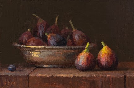 """Still Life with Figs and a Copper Bowl"" original fine art by Abbey Ryan"