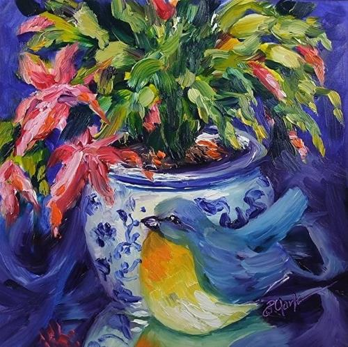 """Memories, Christmas Cactus, 8 x 8 Oil, Still Life"" original fine art by Donna Pierce-Clark"