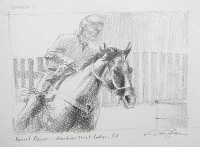 """Sketch 6__Barrel Racer"" original fine art by V.... Vaughan"