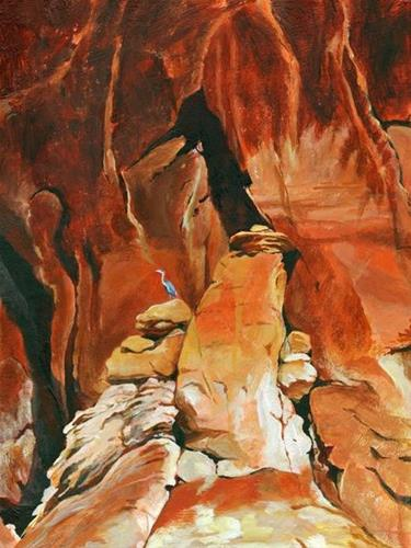 """Original Red Rocks Landscape Painting Red Rocks,Blue Heron by Colorado Artist Nancee Jean Busse"" original fine art by Nancee Busse"