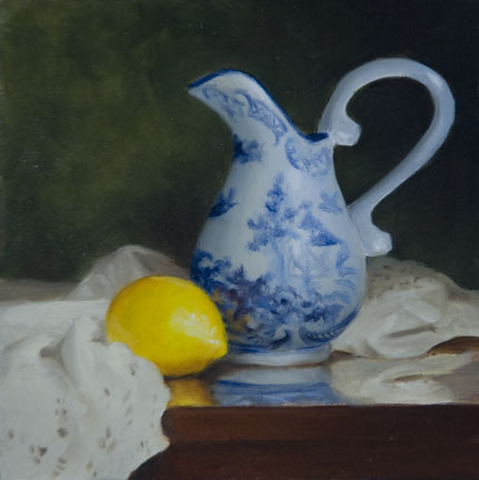 """Blue China Pitcher & Lemon #1201"" original fine art by Dee Lessard"