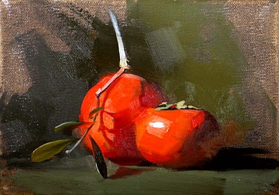 """Persimmons --- Sold"" original fine art by Qiang Huang"