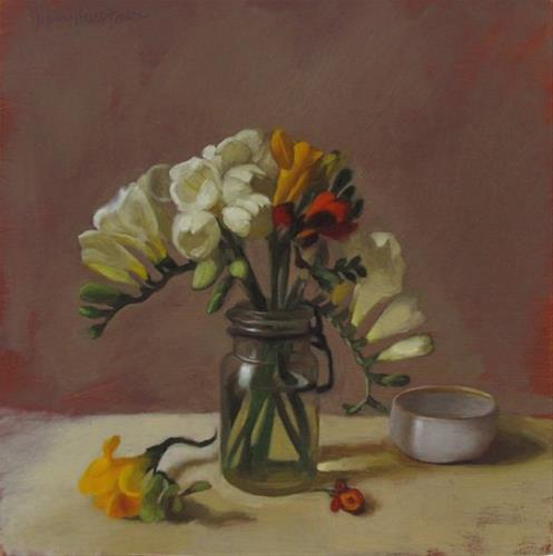 """Freesias and Bowl"" original fine art by Diane Hoeptner"