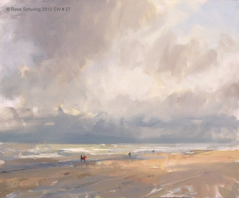"""Seascape winter 27 Before the snow (available) zeegezicht"" original fine art by Roos Schuring"