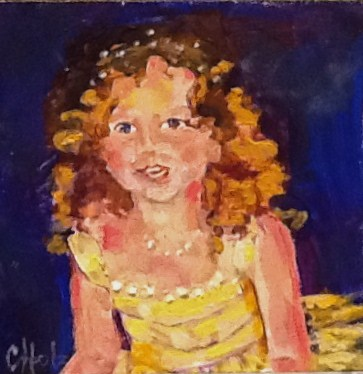 """Sunshine Princess  4x4  acrylic"" original fine art by Christine Holzschuh"
