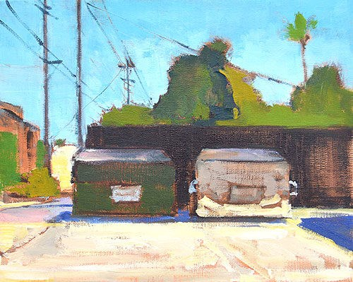 """Dumpsters, North Park"" original fine art by Kevin Inman"