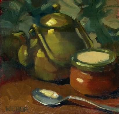 """Tea and jam"" original fine art by Kathy Weber"