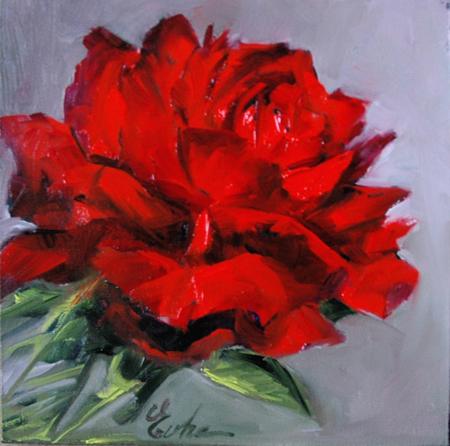 """""""Une rose rouge"""" original fine art by Evelyne Heimburger Evhe"""