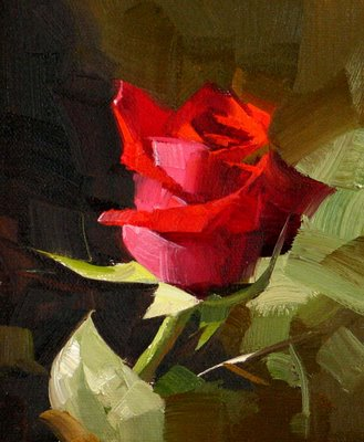 """Red Rose 3 --- Sold"" original fine art by Qiang Huang"