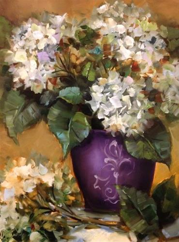 """Purple Pot Hydrangeas by Texas Flower Artist Nancy Medina"" original fine art by Nancy Medina"