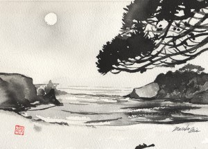 """Pine at Jug Handle Beach"" original fine art by Mariko Irie"
