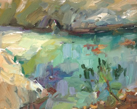 """Painting in California 23 China Cove (sold)"" original fine art by Roos Schuring"