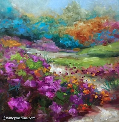 """Yes, Virginia, There Is a Flower Mound - Flower Paintings by Nancy Medina"" original fine art by Nancy Medina"