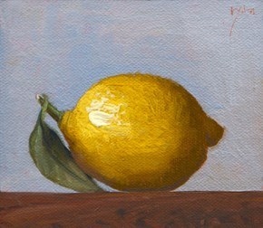 """Lemon with Leaf  (+ seven red tailed hawks)"" original fine art by Abbey Ryan"