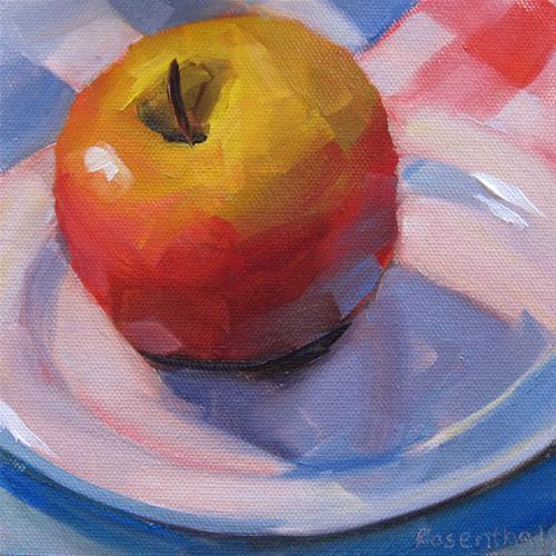 """Red Apple on White Plate"" original fine art by Robin Rosenthal"