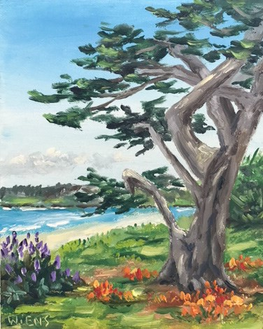 """Carmel Beach Cypress"" original fine art by Laura Wiens"