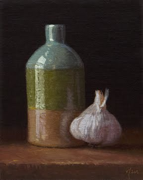 """Handmade Bottle with Garlic"" original fine art by Abbey Ryan"