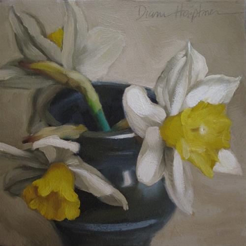 Daffodil Trio still life painting original fine art by Diane Hoeptner