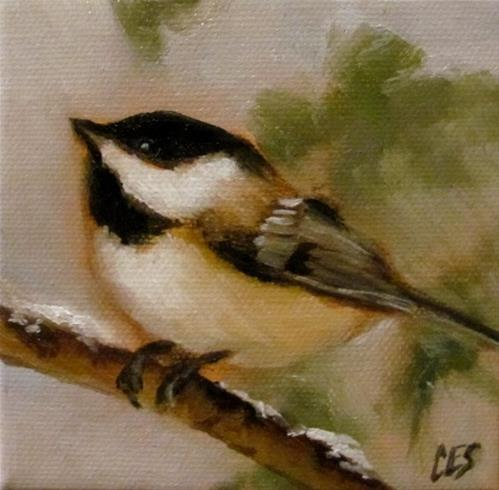 """Winter Chickadee"" original fine art by ~ces~ Christine E. S. Code"