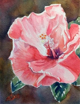 """Day 19 - Sunny Hibiscus"" original fine art by Lyn Gill"