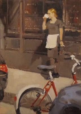 """""""UNE PAUSE - Île Saint-Louis, Paris"""" original fine art by Helen Cooper"""