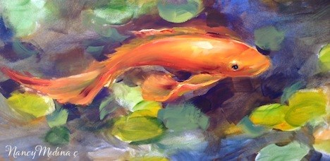 """Ariel ~ Koi Pond Painting Commission by Nancy Medina"" original fine art by Nancy Medina"