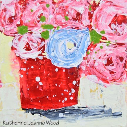 """Pink and blue cottage chic roses painting No 160"" original fine art by Katie Jeanne Wood"