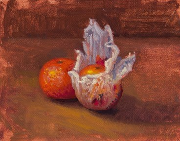 """Still Life with Tangerine and Wrapped Tangerine, Barcelona, Spain  (+ Barcelona photos)"" original fine art by Abbey Ryan"