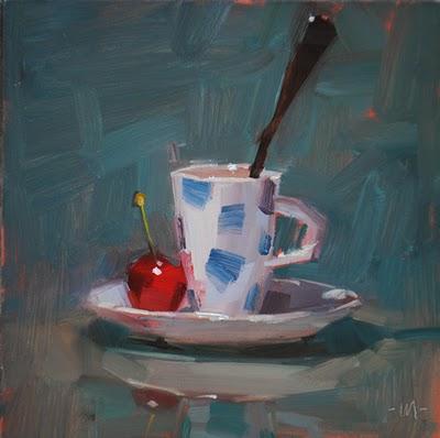 """Cherryspresso"" original fine art by Carol Marine"