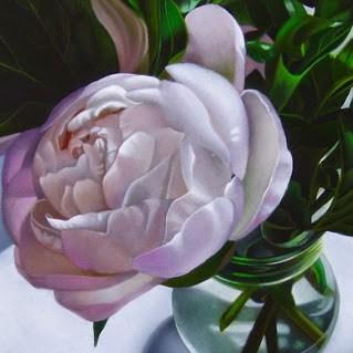 """Pink Peony 6x6"" original fine art by M Collier"