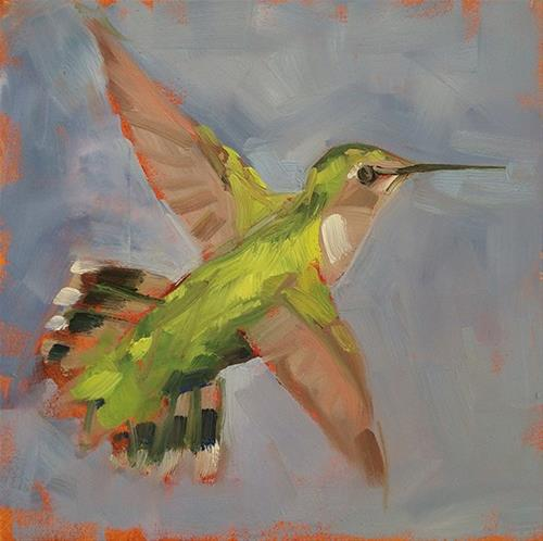 """Green Hummingbird"" original fine art by Deborah Newman"