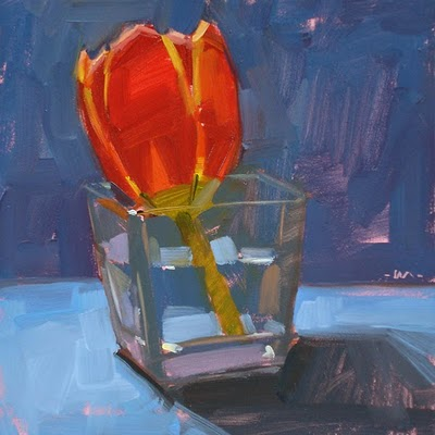 """Glowing Tulip"" original fine art by Carol Marine"