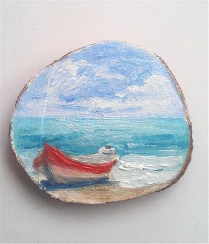 """Mini Oil Painting Boat on Beach"" original fine art by Camille Morgan"