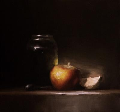 """Apple and a Slice"" original fine art by Neil Carroll"