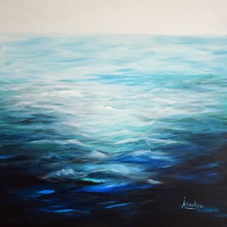 """Contemporary Abstract Seascape Painting In The Swim by Contemporary Seascape Artist Arrachme"" original fine art by Arrachme Art"