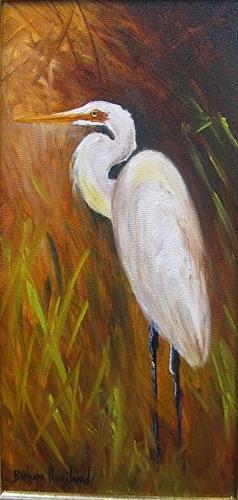 """White Egret"" original fine art by Barbara Haviland"