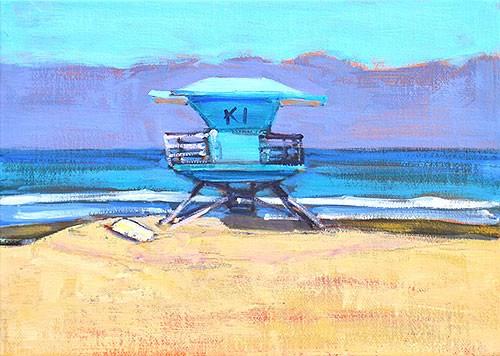 """Coronado Lifeguard Stand"" original fine art by Kevin Inman"