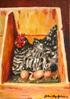 """Spackles the Hen, Taking care of Business"" original fine art by JoAnne Perez Robinson"