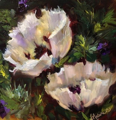 """Day 7 ~ Against the Sky White Poppies and an Artwork Winner Announced by Nancy Medina"" original fine art by Nancy Medina"