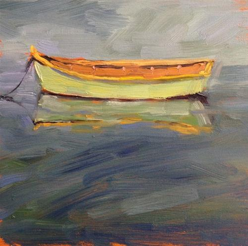 """Green Rowboat"" original fine art by Deborah Newman"