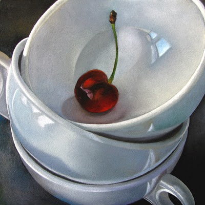 """Cups and Cherry  6x6"" original fine art by M Collier"