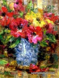 """""""Anemone Still Life"""" original fine art by Julie Ford Oliver"""