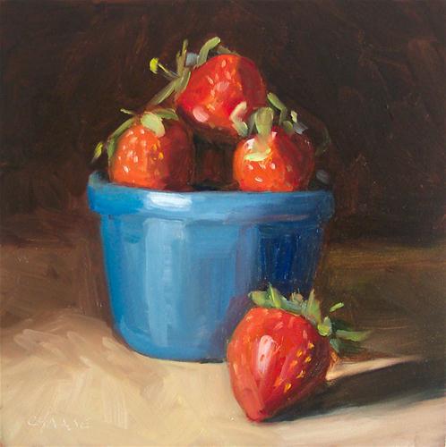 """Strawberries in Blue Bowl"" original fine art by Cindy Haase"
