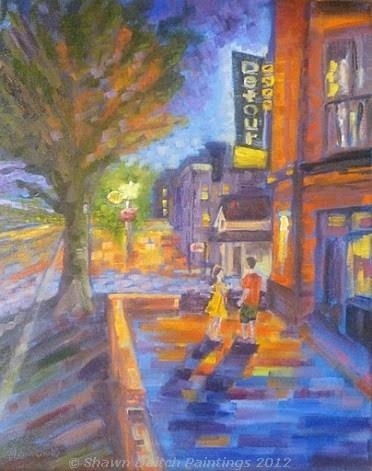 """""""Nightlife - Carmel Arts & Design District"""" original fine art by Shawn Deitch"""