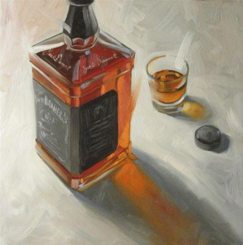 """Jack Daniel's Old No. 7   12x12  oil"" original fine art by Claudia Hammer"