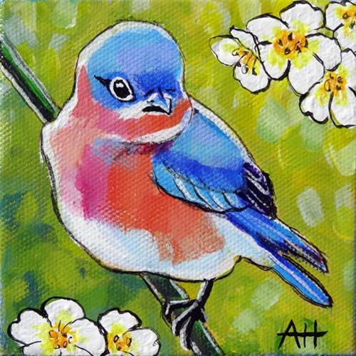 """Eastern Bluebird"" original fine art by Ande Hall"