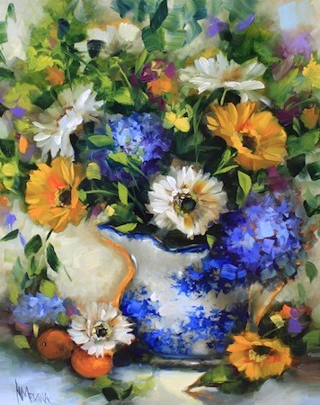 """Cup of Sunshine Daisies and What Happens in a Flower Painting Workshop by Texas Artist Nancy Medina"" original fine art by Nancy Medina"