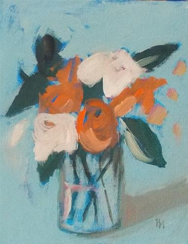 """Orange and White Blooms"" original fine art by Pamela Munger"